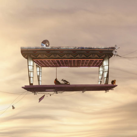 Flying houses game over by laurent chéhère