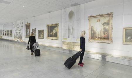 Paris airport louvres fresque by leo caillard
