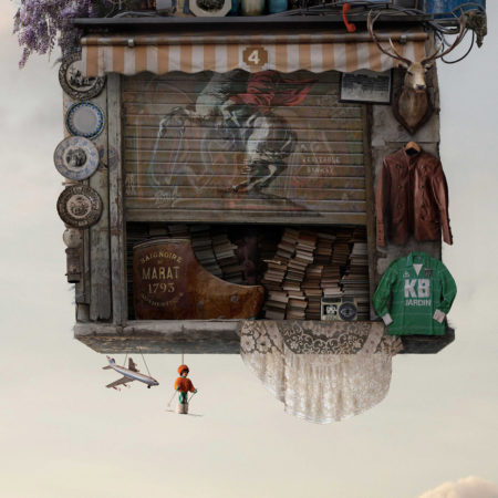 Flying house bricabrac by laurent chéhère
