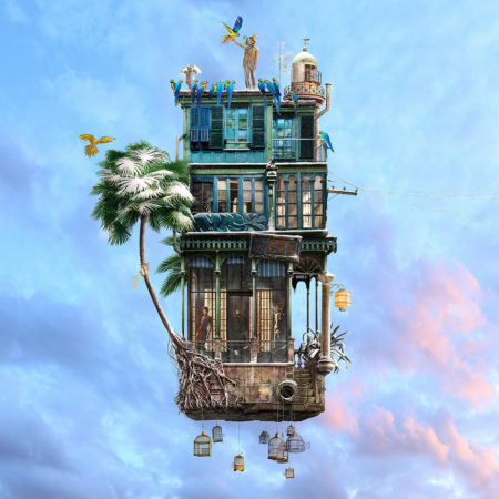 The bird charmer is part of the flying houses series by laurent chéhère